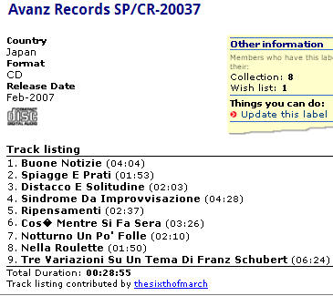 Avanz Records SP/CR-20037
